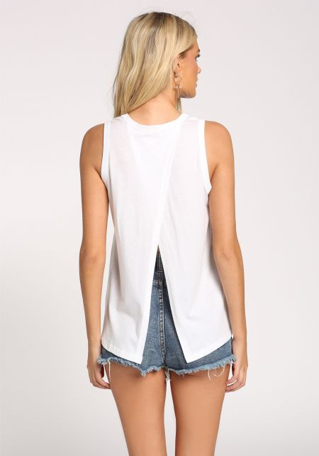 White Back Slit Tank Top