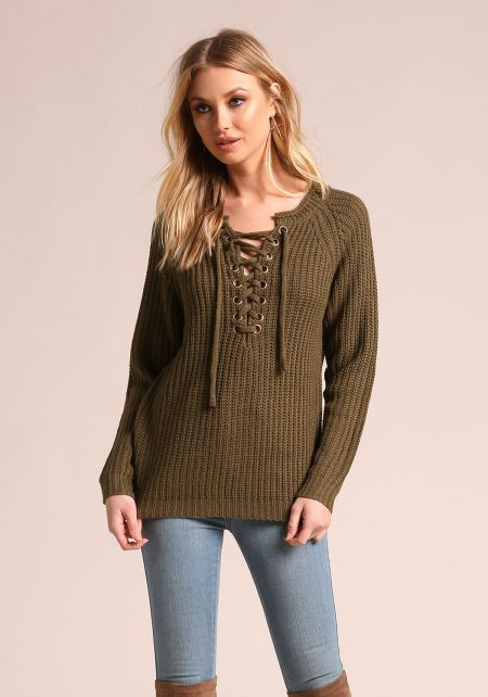 Olive Lace Up Thick Knit Sweater Top