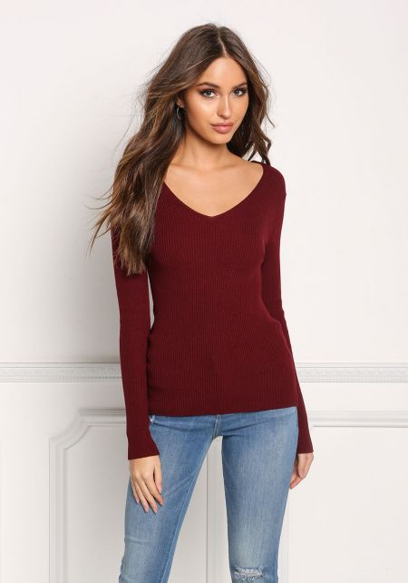 Burgundy Ribbed Knit Long Sleeve Top