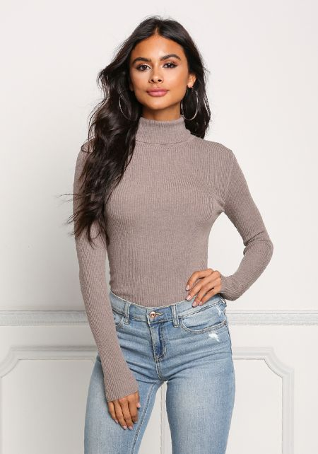 Taupe Turtleneck Ribbed Knit Top