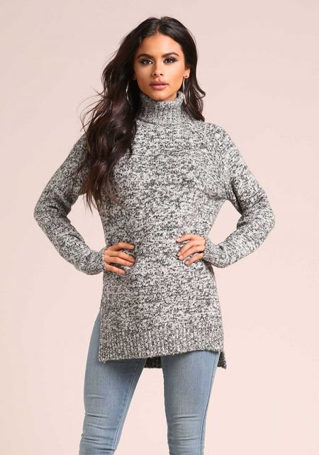 Black Turtleneck Marled Sweater Top
