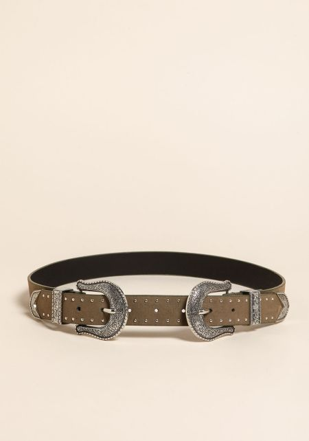 Olive Double Buckle Suedette Belt