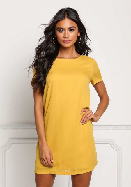 Mustard Boxy Shift Dress