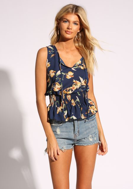 Navy Floral Smocked Tank Top