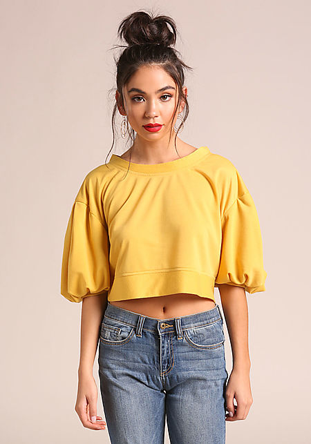 Mustard Puff Sleeve Crop Top