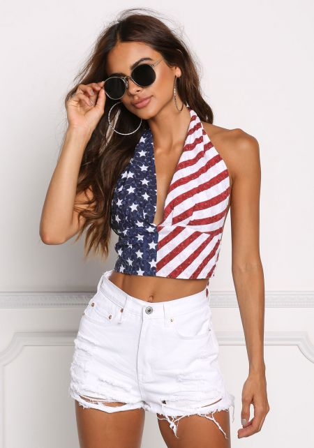 Blue Red Stars and Stripes Embroidered Halter Top