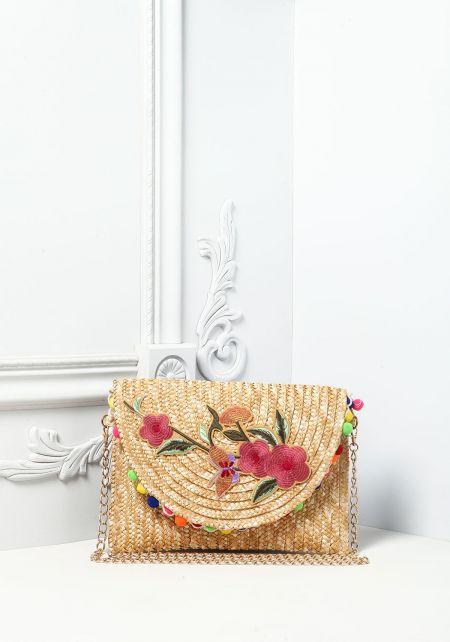 Natural Floral Applique Pom Pom Straw Crossbody Ba