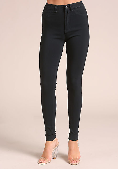Navy Solid High Rise Skinny Jeans