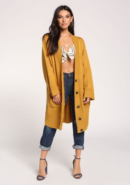 Mustard Pocket Button Down Longlined Cardigan