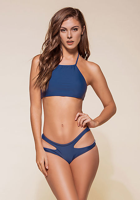 Navy Halter Cut Out Bikini Set