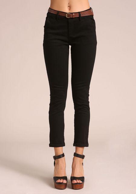 Black Belted Skinny Pants