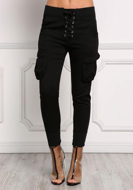 Black Lace Up Baggy Pocket Pants