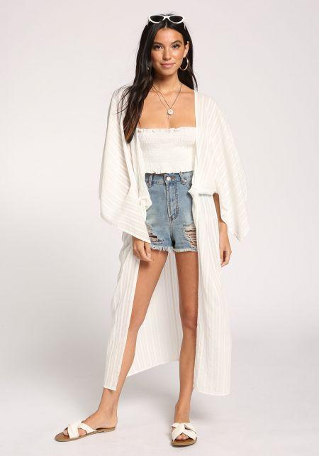 White Wide Sleeve Longlined Kimono
