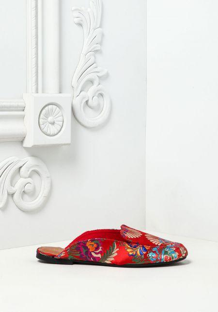 Red  Embroidered Floral Slides