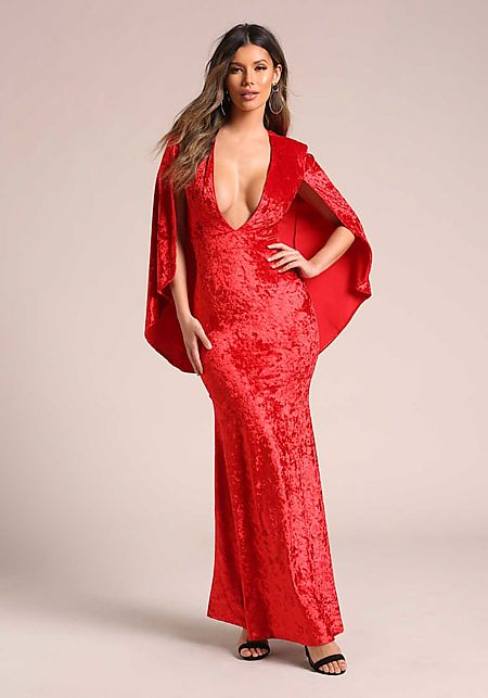Red Crushed Velvet Plunge Cape Gown
