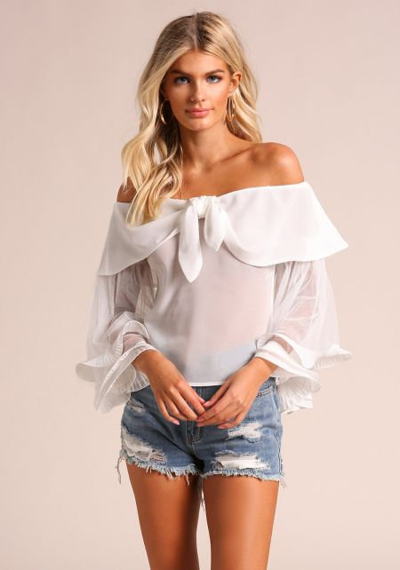White Off Shoulder Tiered Sleeve Blouse