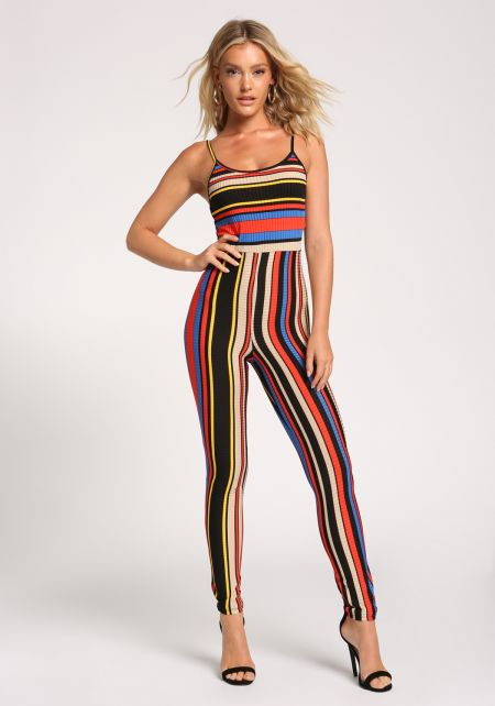 Multi Stripe Ribbed Knit Jumpsuit