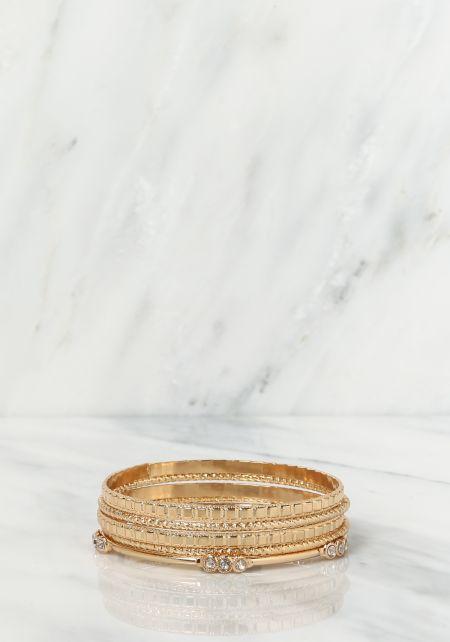 Gold Assorted Bangle Bracelets Set