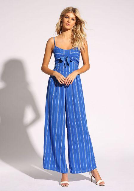 Blue Tie Front Pinstripe Jumpsuit