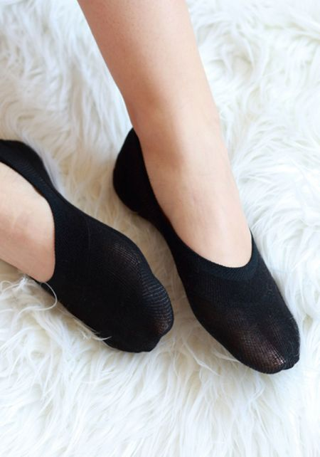 Black No Show Knit Socks