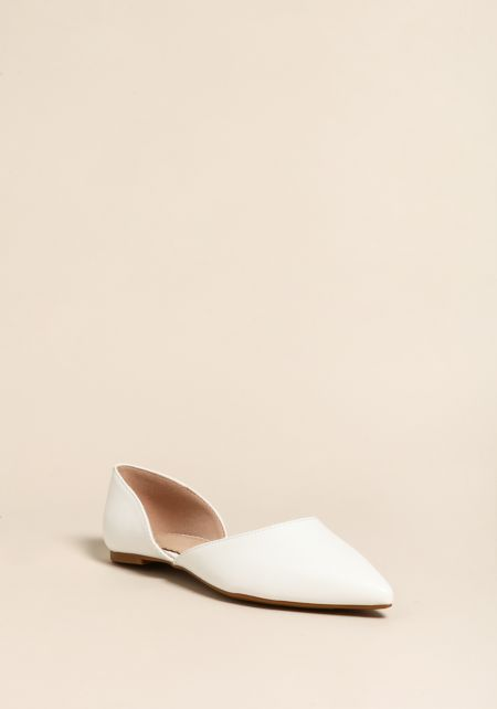 White Faux Leather Pointed Toe Flats