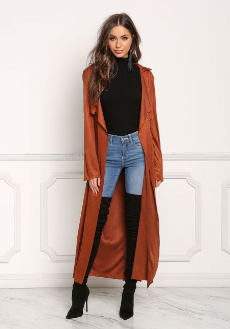 Rust Suedette Longlined Cinched Duster Jacket