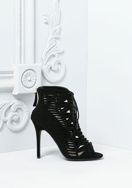 Black Suedette Laser Cut Lace Up Heels