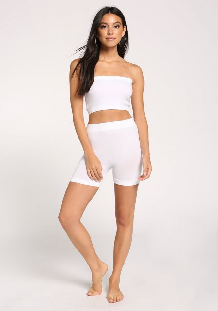 White High Rise Biker Shorts