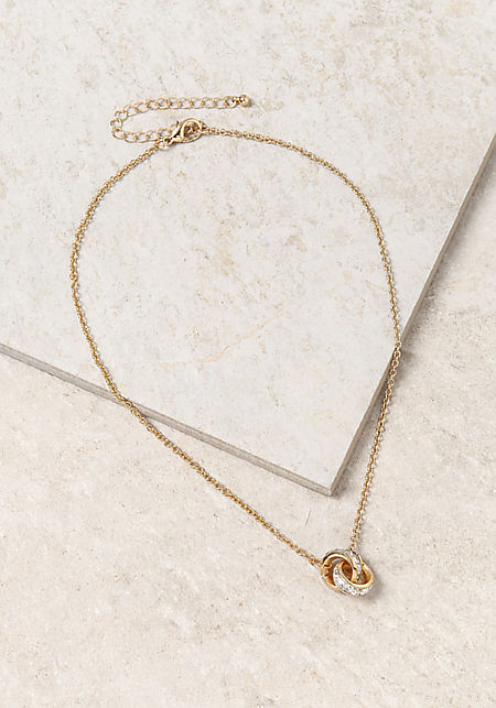 Gold Two Circle Loop Necklace