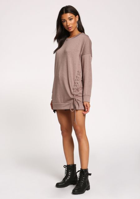 Mocha Side Lace Up Pullover Sweater Top