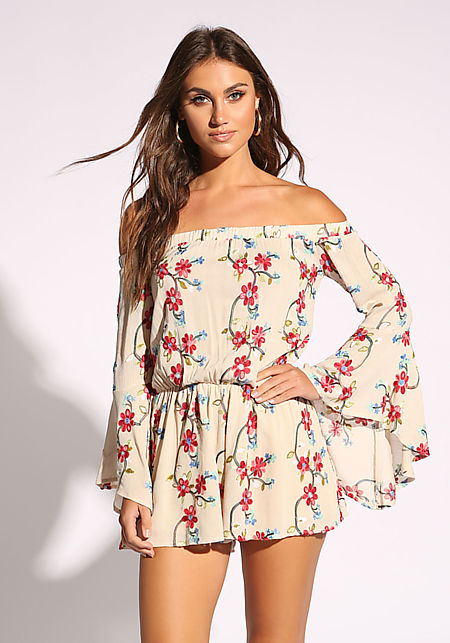 a2b84b6ec0c Taupe Floral Bell Sleeve Flared Romper ...
