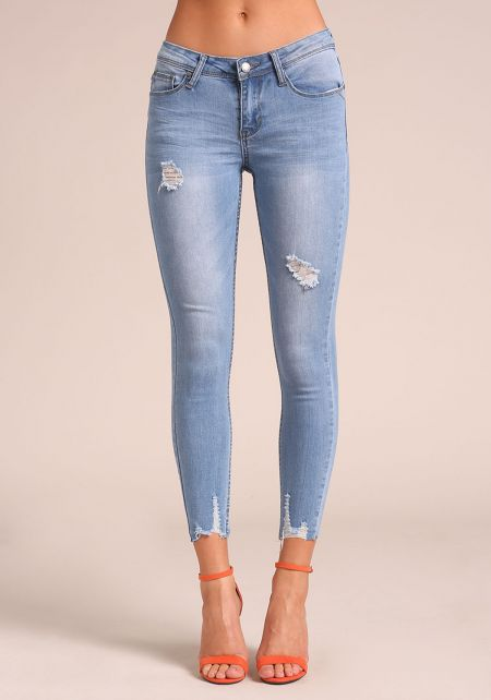 Light Denim Distressed Ankle Skinny Jeans