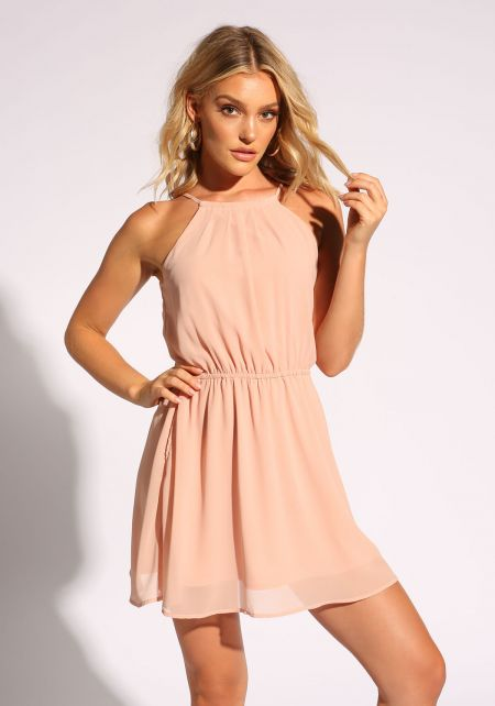 Blush Cross Strap Flared Dress