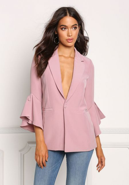 Dusty Rose Plunge Bell Sleeve Blazer