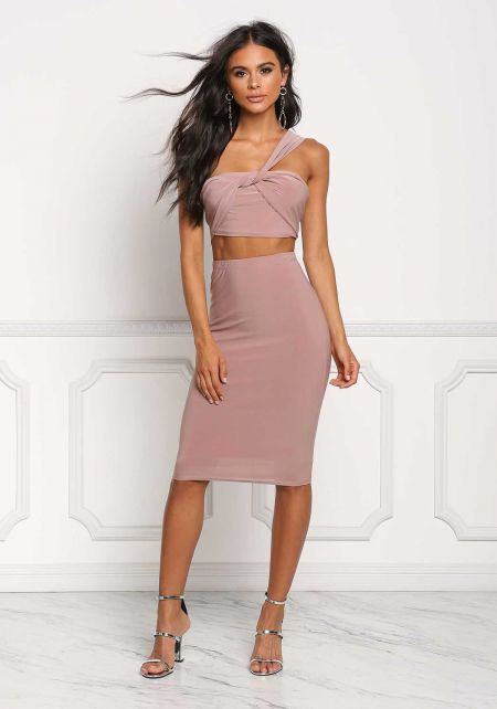 Mauve High Rise Knit Skirt