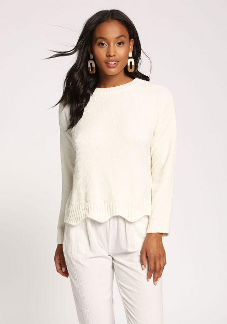 Ivory Scallop Soft Sweater Top