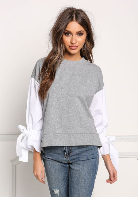 Grey Two Tone Tied Sleeve Blouse