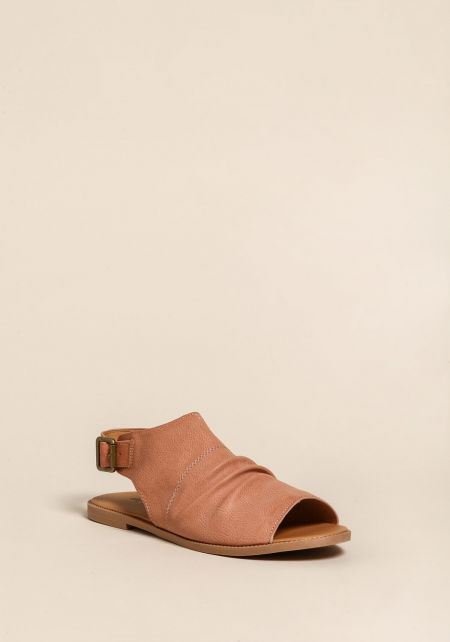 Blush Leatherette Peep Toe Sandals