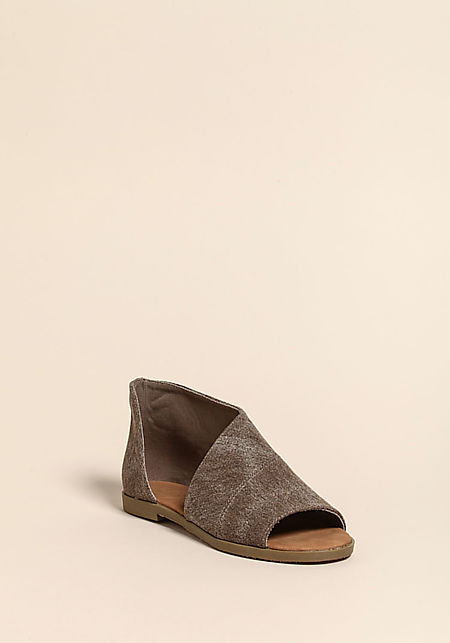 Taupe Canvas Open Toe Sandals