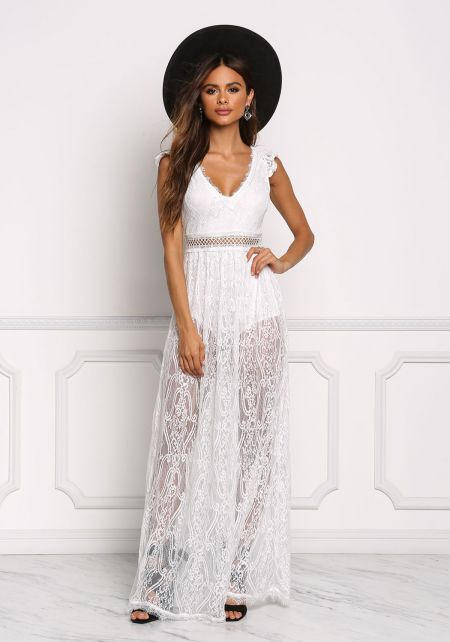 White Floral Lace Open Back Maxi Dress
