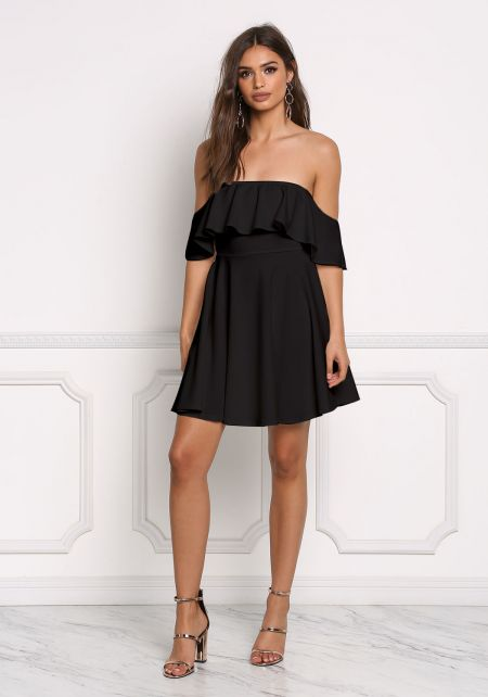 Black Off Shoulder Ruffle Flared Dress