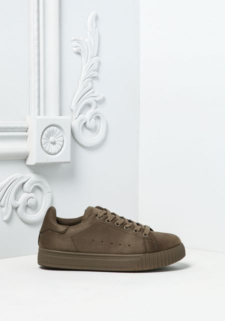 Khaki Suedette Sneakers