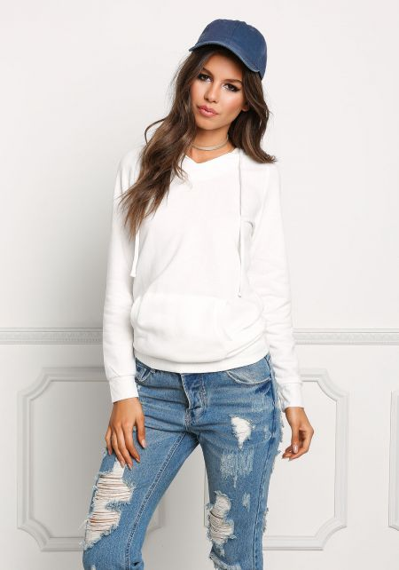 Off White Kangaroo Pocket Hooded Sweater