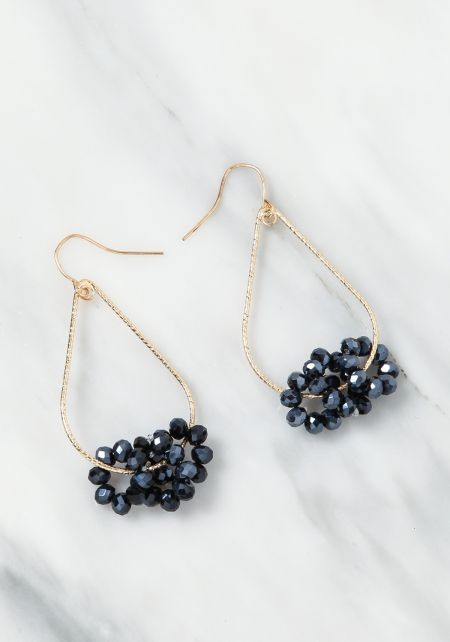 Black Beaded Teardrop Earrings