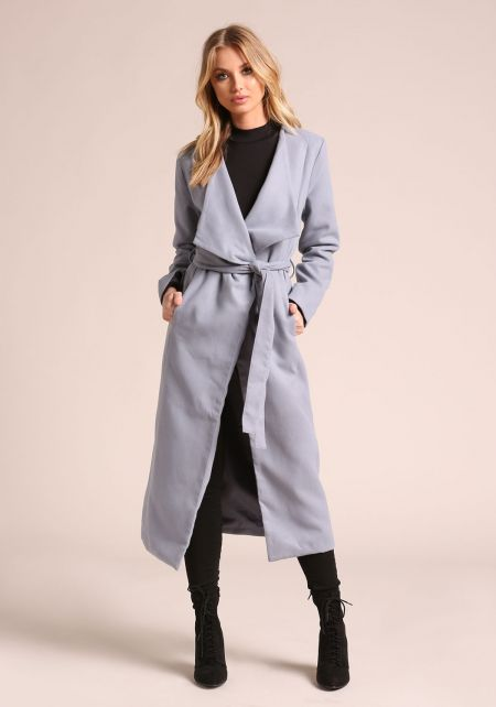 Light Blue Longlined Pocket Coat