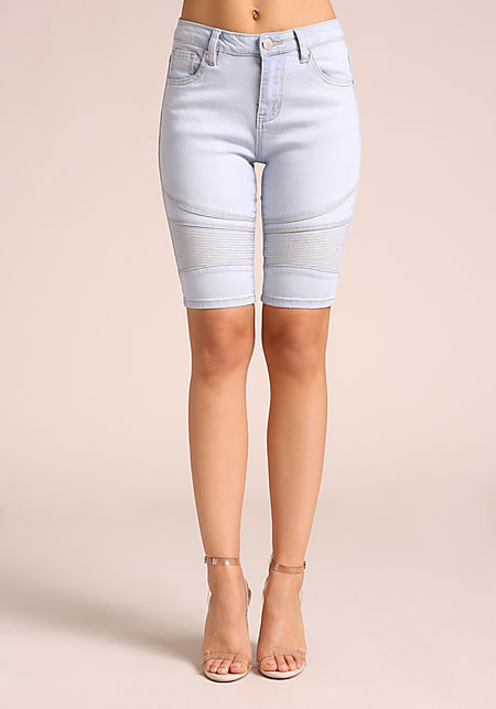 Light Blue Embossed Denim Bermuda Shorts