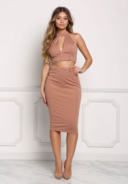 Latte Cinched High Rise Solid Skirt