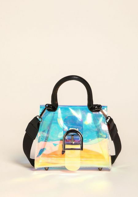 Multi Clear Iridescent Tote Crossbody Bag