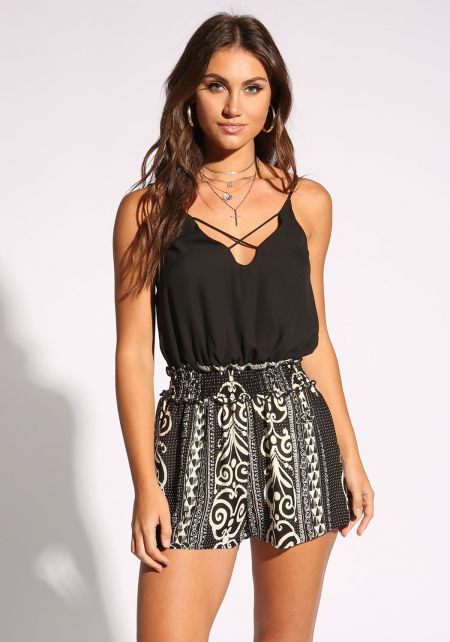 Black Two Tone Printed Romper