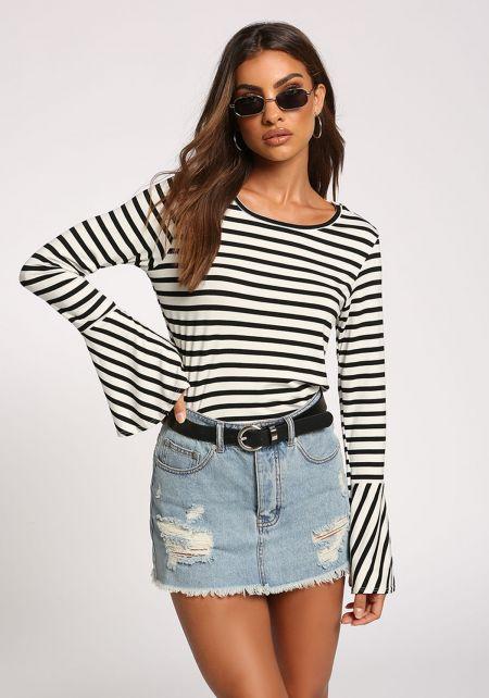 Black Stripe Bell Sleeve Top